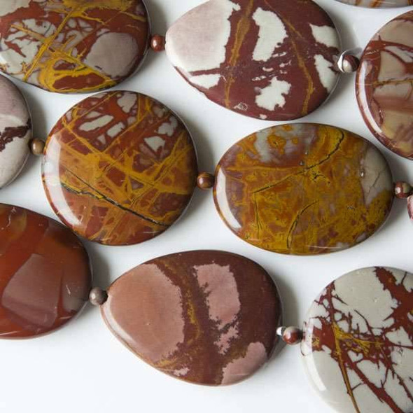 Australian Red Picture Jasper (Noreena Jasper) 30x40mm Teardrops, 30x40mm Oval, and 35mm Coins alternating with 4mm Rounds - approx. 8 inch strand