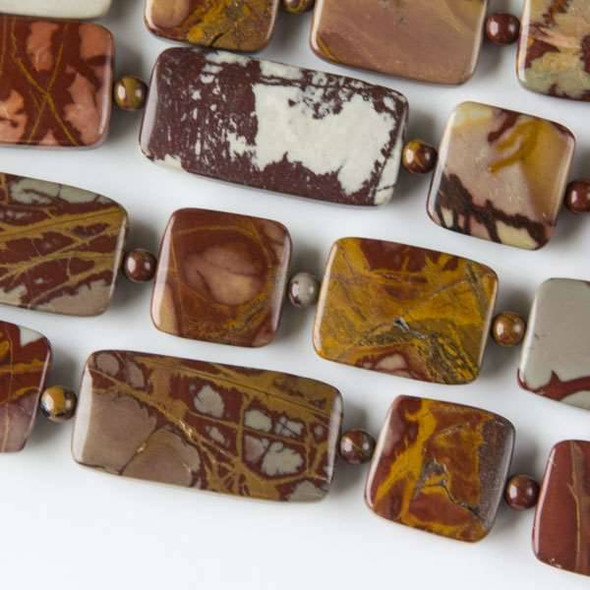 Australian Red Picture Jasper (Noreena Jasper) 15mm Squares and 15x20mm-15x30mm Rectangles alternating with 4mm Rounds - approx. 8 inch strand