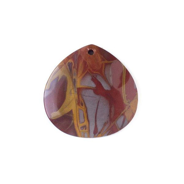 Australian Red Picture Jasper (Noreena Jasper) 40mm Top Front to Back Drilled Almond Pendant with a Flat Back - 1 per bag