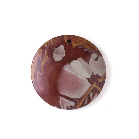 Australian Red Picture Jasper (Noreena Jasper) 40mm Top Front to Back Drilled Coin Pendant with a Flat Back - 1 per bag