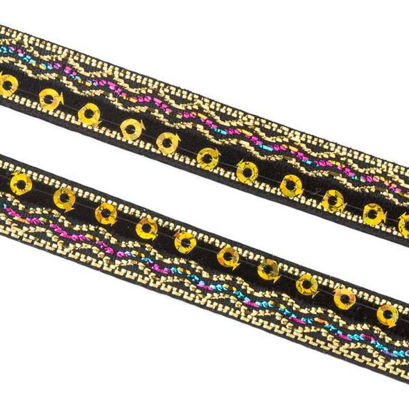 Black and Gold Sequin Ribbon on Black Leather Boho Cord - 10mm Flat, 3 yards #AX26