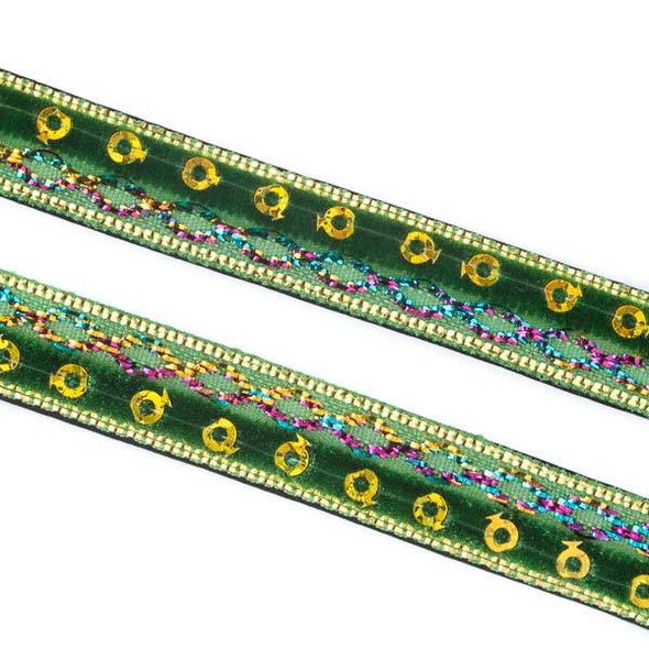 Green and Gold Sequin Ribbon on Black Leather Boho Cord - 10mm Flat, 3 yards #AX30