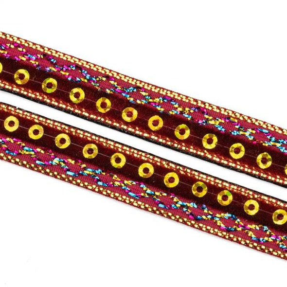 Dark Red and Gold Sequin Ribbon on Black Leather Boho Cord - 10mm Flat, 3 yards #AX44
