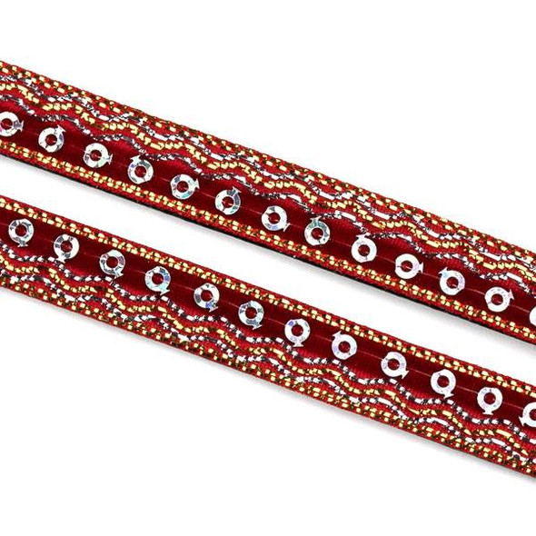 Red and Silver Sequin Ribbon on Black Leather Boho Cord - 10mm Flat, 3 yards #AX46