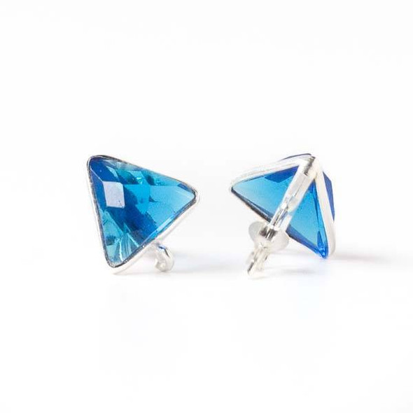 Azure Blue Quartz 13x15mm Triangle Sterling Silver Stud Earrings with Jump Ring Loop