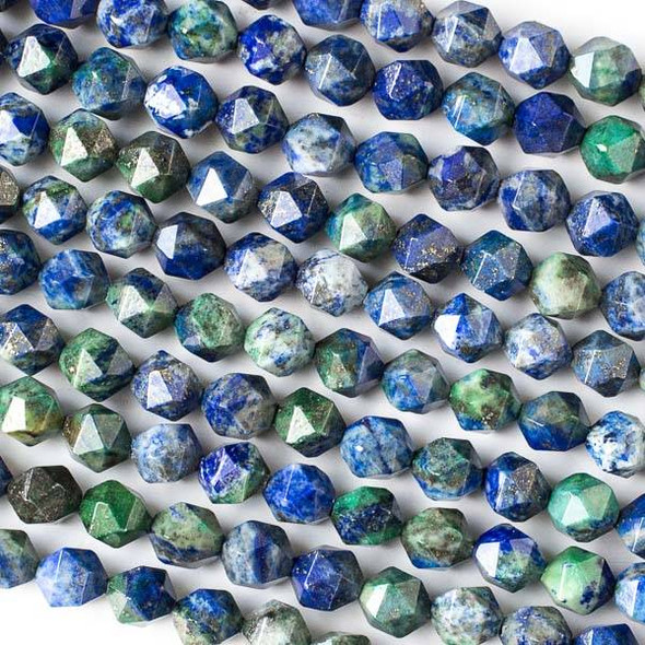 Azurite 7-8mm Simple Faceted Star Cut Beads - 15 inch strand