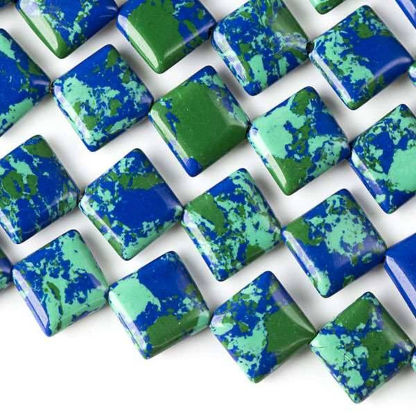 Synthetic Azurite 10mm Diagonal Drilled Square Beads - approx. 8 inch strand, Set A