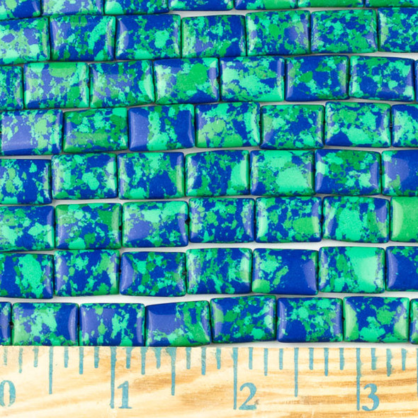 Synthetic Azurite 10x14mm Rectangle Beads - approx. 8 inch strand, Set A