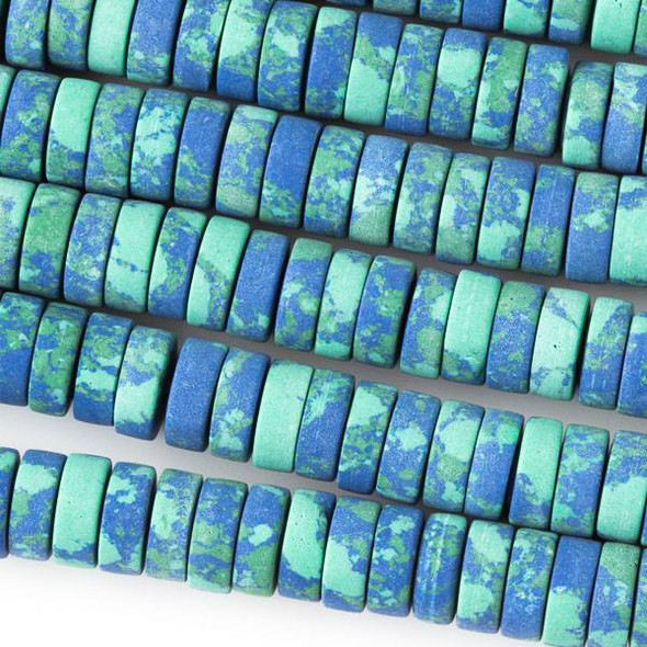 Matte Synthetic Azurite 3x8mm Heishi - 8 inch strand