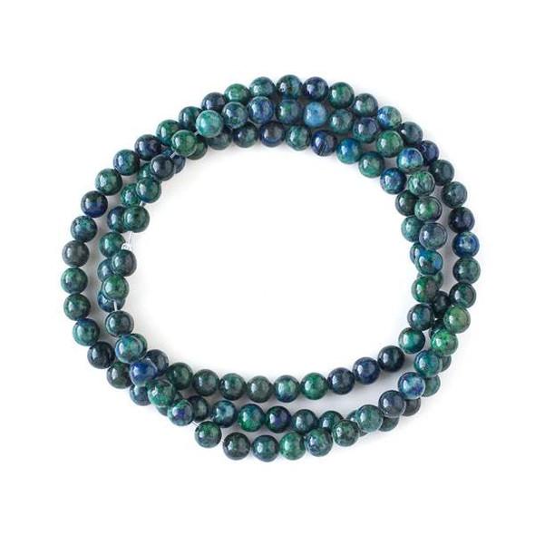 Azurite 6mm Mala Round Beads - 29 inch strand