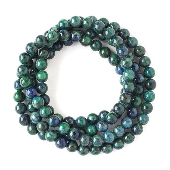 Azurite 8mm Mala Round Beads - 36 inch strand