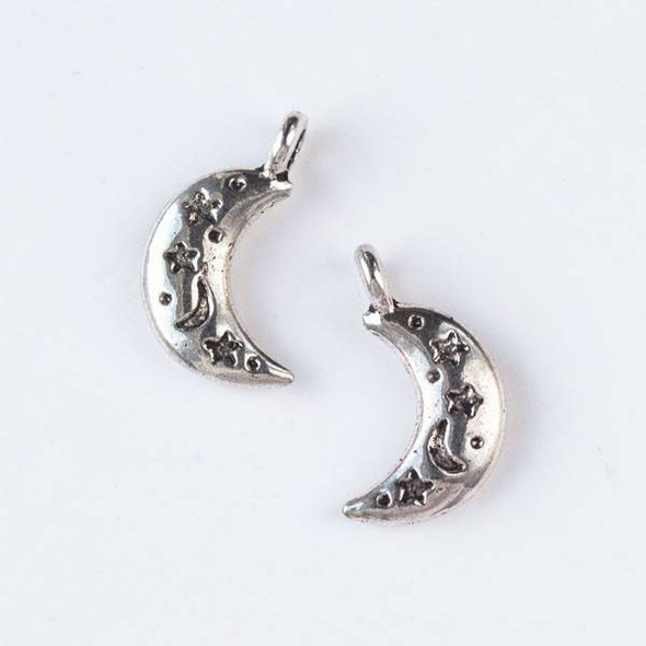 Silver Pewter 6x19mm Moon Charm - 10 per bag