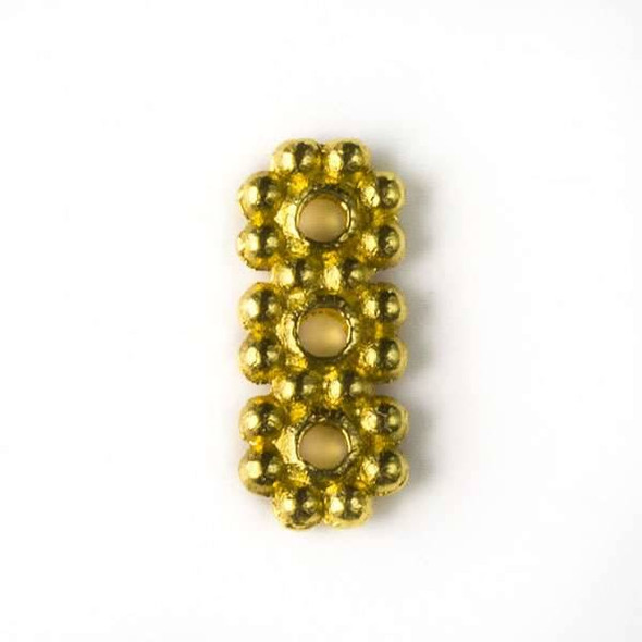 Gold Colored Pewter 10x13mm 3 Hole Daisy Spacer - 24 per bag - basea0072g