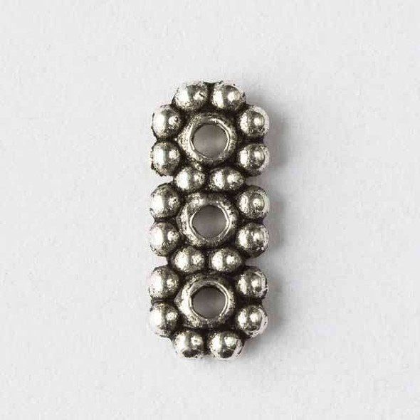 Silver Pewter 10x13mm 3 Hole Daisy Spacer - 24 per bag - basea0072s