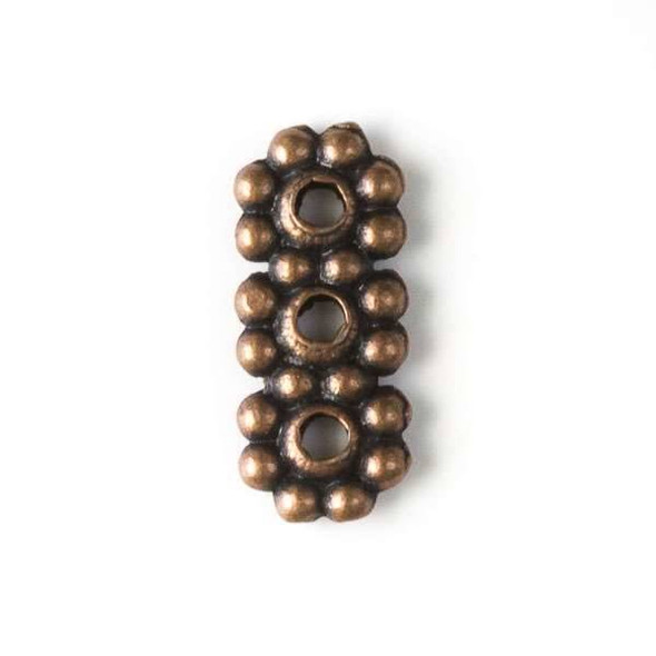 Vintage Copper Colored Pewter 10x13mm 3 Hole Daisy Spacer - 24 per bag - basea0072vc
