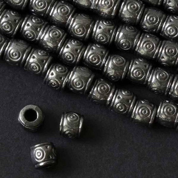 Gun Metal Colored Pewter 6x8mm Barrel Beads with Circles and a 2mm Large Hole - approx. 8 inch strand - basea0089gm