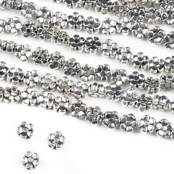 Silver Pewter 6mm Small Daisy Flower Beads - approx. 8 inch strand - basea0095s