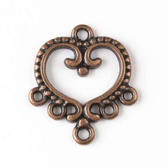 Vintage Copper Colored Pewter 19x22mm Heart Earring Finding - 12 per bag - basea0118vc