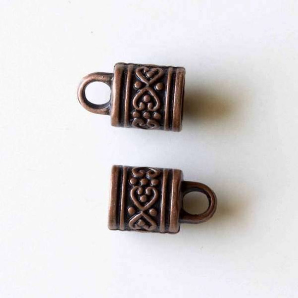 Vintage Copper Colored Pewter 10x17mm Cord Ends with a Heart and Dot Pattern and a 7mm Hole - 10 per bag - basea01382vc