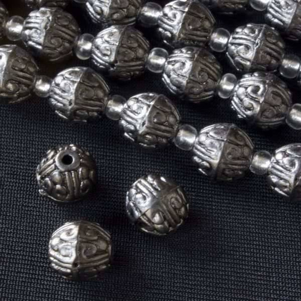 Gun Metal Colored Pewter 10mm Egg Beads with Scroll - approx. 8 inch strand - basea0216gm