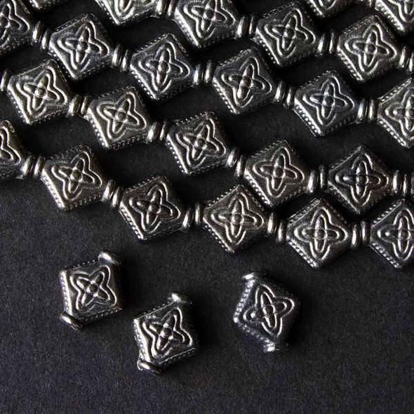 Gun Metal Colored Pewter 9x10mm Diamond Beads - approx. 8 inch strand - basea0306gm