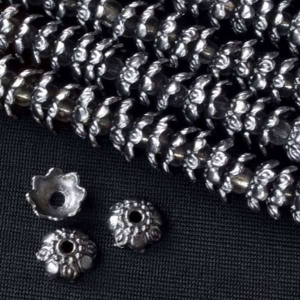 Gun Metal Colored Pewter 9mm Floral Bead Caps - approx. 8 inch strand - basea0370gm