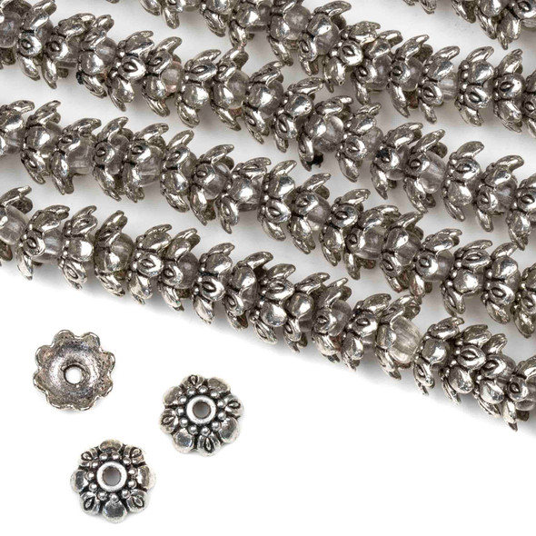 Silver Pewter 9mm Floral Bead Caps - approx. 8 inch strand - basea0370s