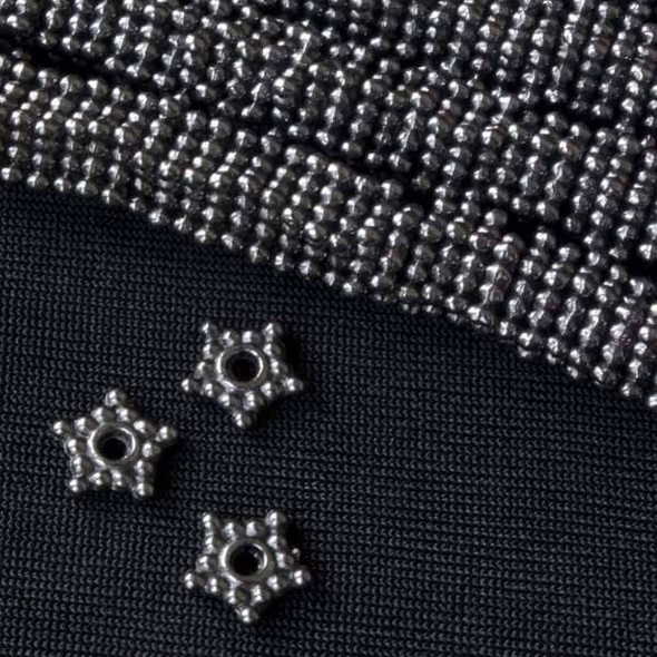 Gun Metal Colored Pewter 8mm Star Spacer Beads - approx. 8 inch strand - basea0402gm