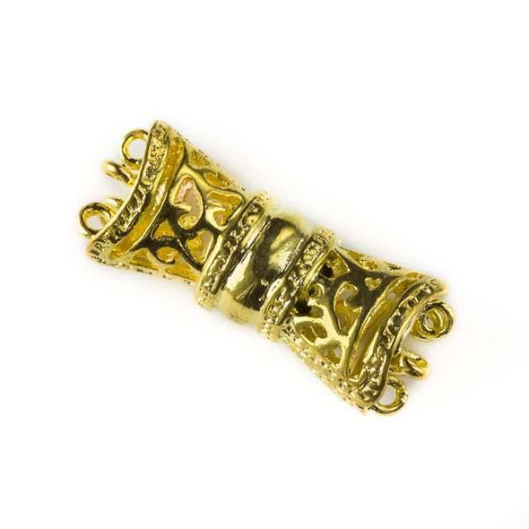 Gold Colored Pewter 11x27mm Magnetic 5 Strand Barrel Clasp - 1 per bag - basea0410g