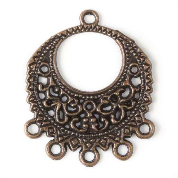 Vintage Copper Colored Pewter 26x32mm 5:1 Filigree Hoop Earring Finding - 12 per bag - basea0464vc