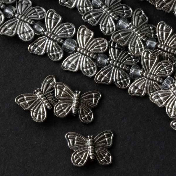 Gun Metal Colored Pewter 11x15mm Thai Style Butterfly Beads - approx. 8 inch strand - basea0481gm