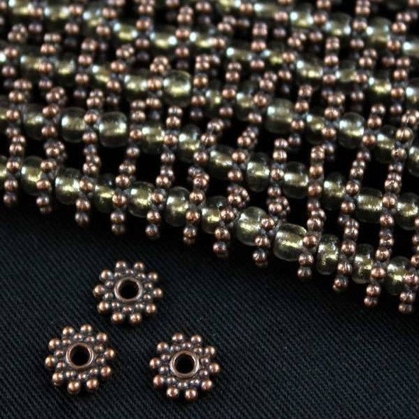 Vintage Copper Colored Pewter 8mm Snowflake Spacer Beads - approx. 8 inch strand - basea0524vc