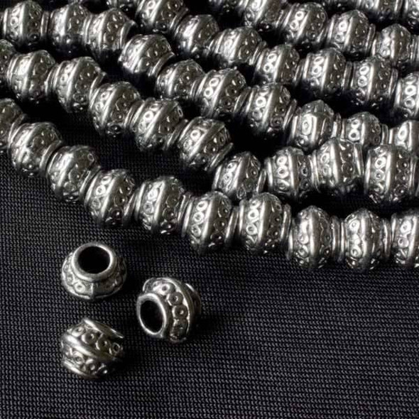 Gun Metal Colored Pewter 7x9mm Barrel Beads with Double Row of Circles - approx. 8 inch strand - basea0586gm