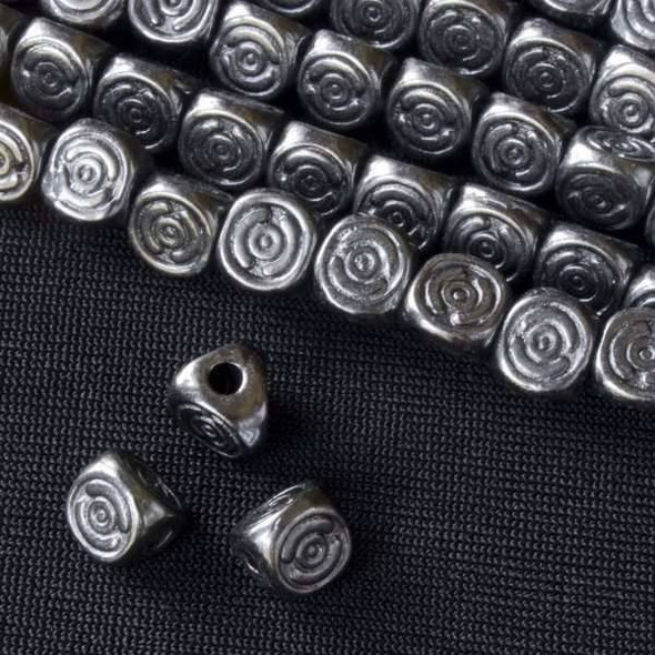 Gun Metal Colored Pewter 6mm 3-Sided Beads with Spiral - approx. 8 inch strand - basea0602gm