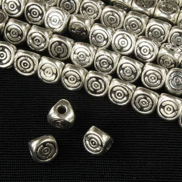 Silver Pewter 6mm 3-Sided Beads with Spirals - approx. 8 inch strand - basea0602s