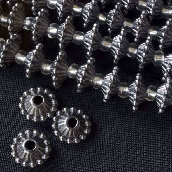 Gun Metal Colored Pewter 6x11mm Corrugated Rondelle Spacer Beads with Dotted Edges - approx. 8 inch strand - basea0641gm