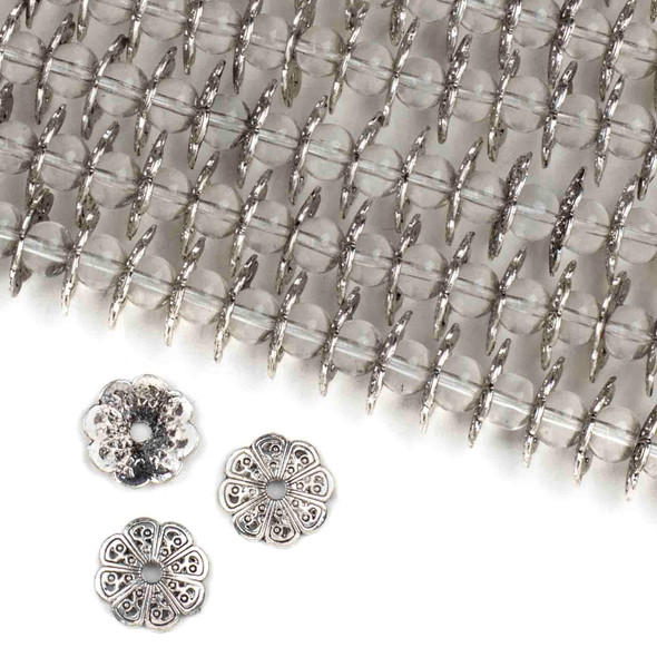 Silver Pewter 2x15mm 8 Sided Bead Caps - approx. 8 inch strand - basea06670s
