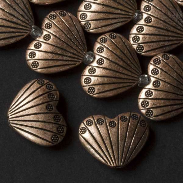 Vintage Copper Colored Pewter 17x22mm Heart Shaped Scallop Shell Beads - approx. 8 inch strand - basea07312vc