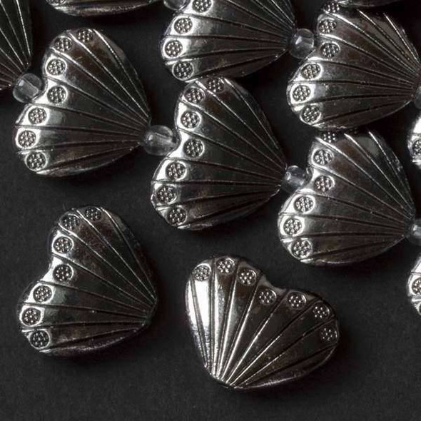 Gun Metal Colored Pewter 17x22mm Heart Shaped Scallop Shell Beads - approx. 8 inch strand - basea07312gm