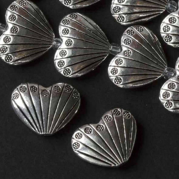 Silver Pewter 17x22mm Heart Shaped Scallop Shell Beads - approx. 8 inch strand - basea07312s