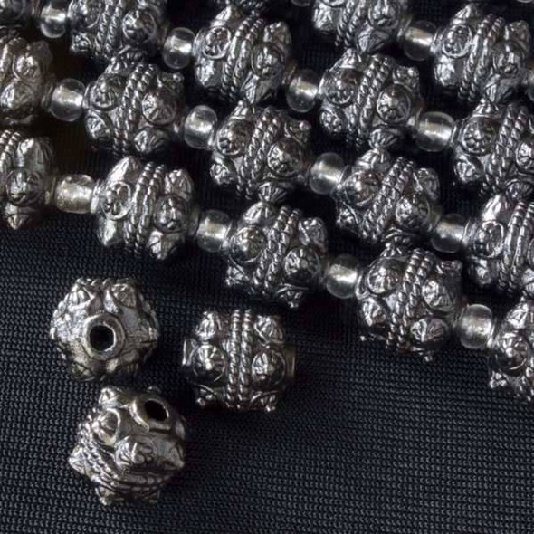 Gun Metal Colored Pewter 10mm Bali Style Round Beads - approx. 8 inch strand - basea0749gm