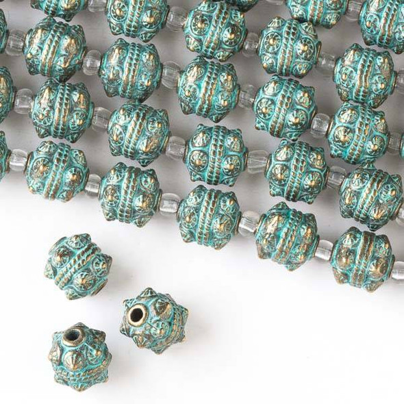 Green Bronze Colored Pewter 10mm Bali Style Round Beads - approx. 8 inch strand - basea0749gb
