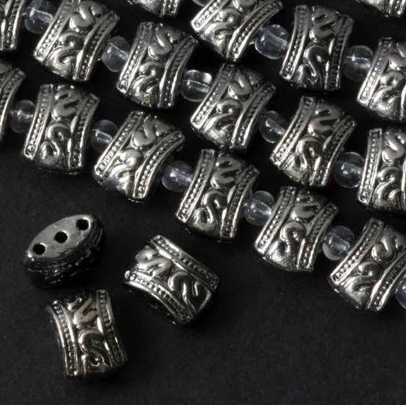 Gun Metal Colored Pewter 8x11mm Concave Drum Spacer Beads with 3 Holes - approx. 8 inch strand - basea0784gm
