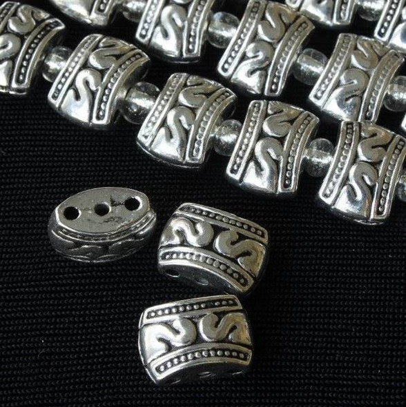 Silver Pewter 8x11mm Concave Drum Spacer Beads with 3 Holes - approx. 8 inch strand - basea0784s