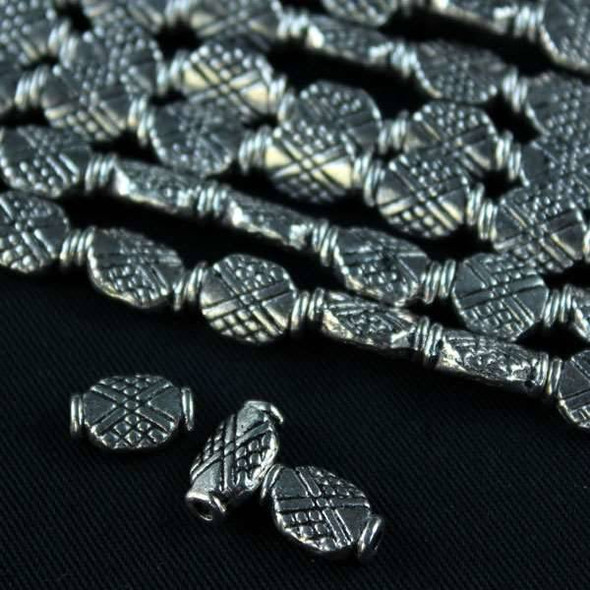 Silver Pewter 7x12mm Criss-Cross Beads - approx. 8 inch strand - basea0809s