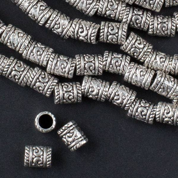 Silver Pewter 7x9mm Tube Beads with Center Scrolls and a 4mm Large Hole - approx. 8 inch strand - basea0834s