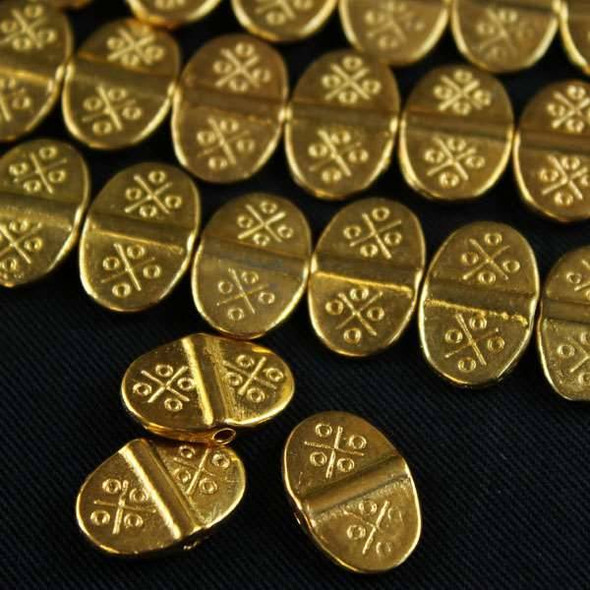 Gold Colored Pewter 10x15mm Flat Thai Style Beads - approx. 8 inch strand - basea0858g