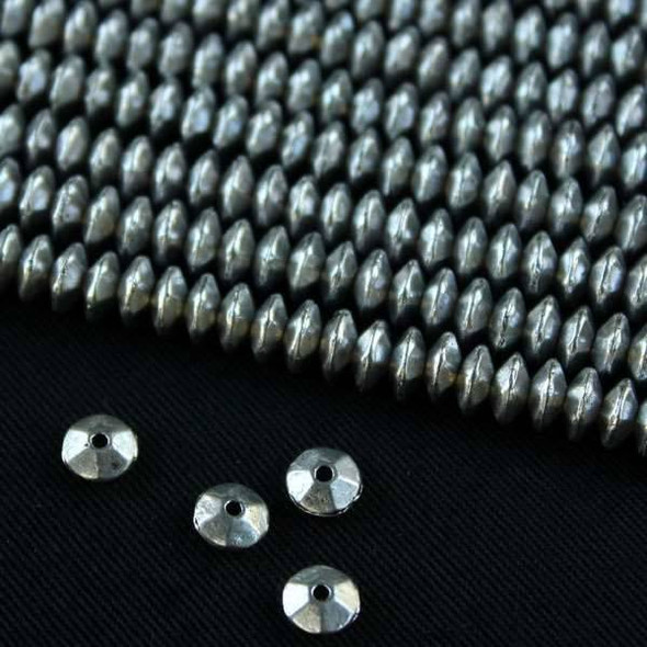 Silver Pewter 3x6mm Smooth Rondelle/Saucer Beads - approx. 8 inch strand - basea0874s