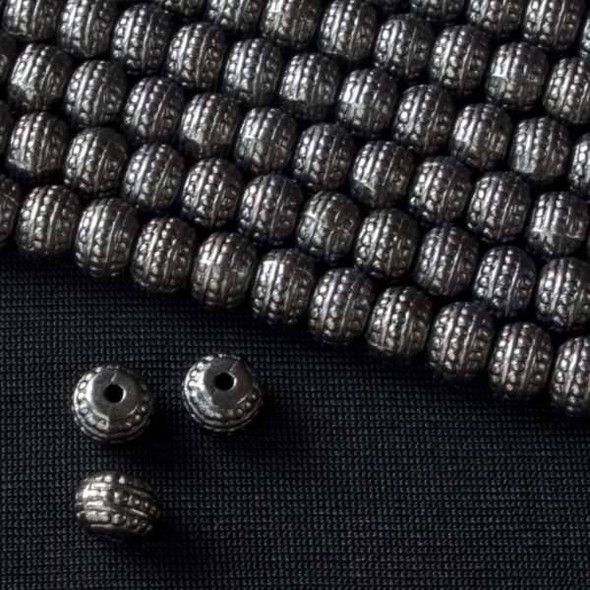 Gun Metal Colored Pewter 5x7mm Tire Rondelle Bead with 3 Dotted Rows  - approx. 8 inch strand - Basea0883gm