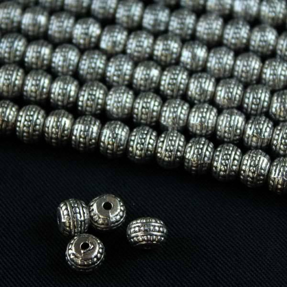 Silver Pewter 5x7mm Tire Rondelle Beads with 3 Dotted Rows - approx. 8 inch strand - basea0883s